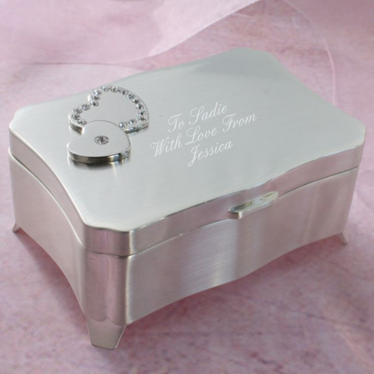 Engraved Two Hearts with Crystals Trinket Box product image
