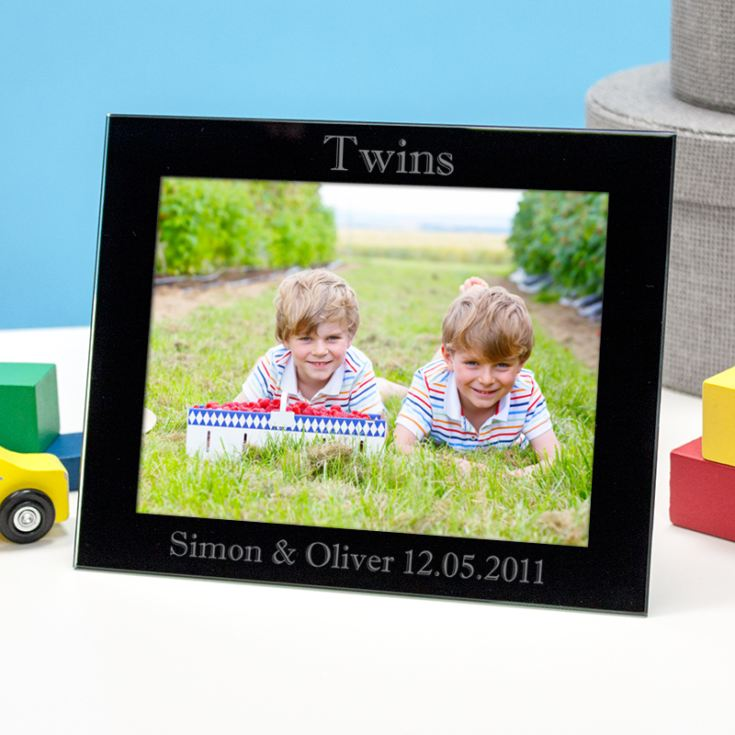 Personalised Twins Black Glass Photo Frame product image