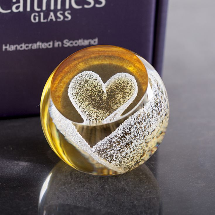Special Moments Gold Heart Paperweight By Caithness Glass product image