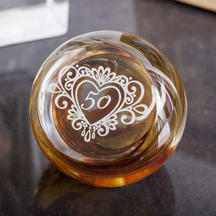 50 Years Celebration Paperweight By Caithness Glass product image