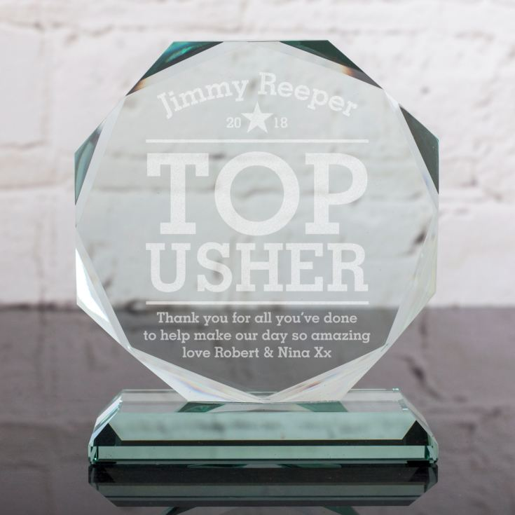 Personalised Usher Glass Octagon Award product image