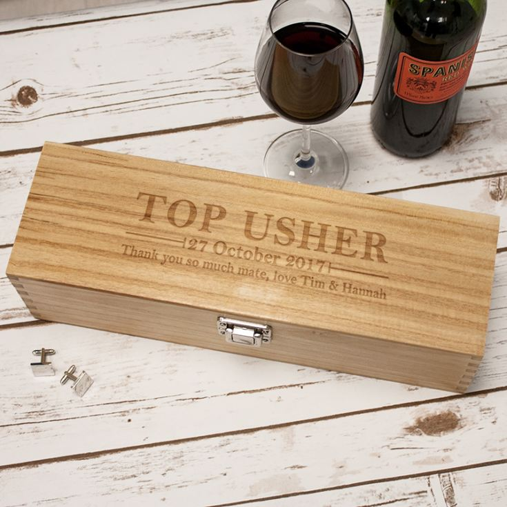 Personalised Top Usher Luxury Wooden Wine Box product image