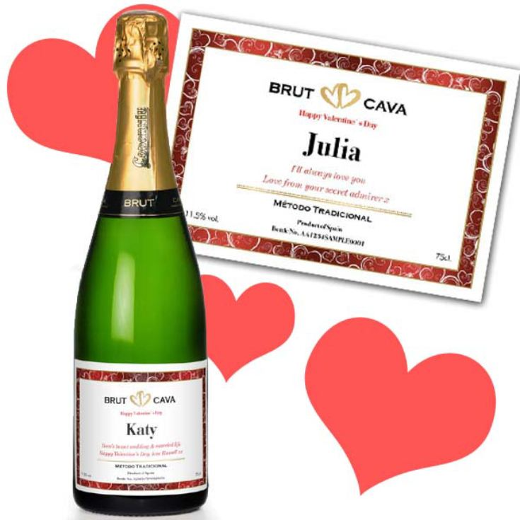 Valentines Day Personalised Bottle of Cava product image