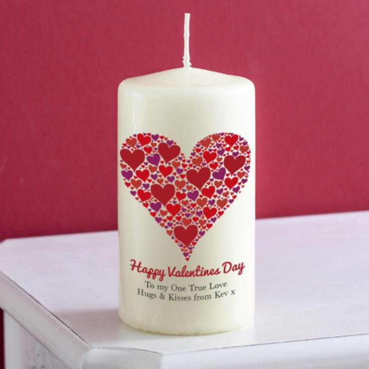 Personalised Heart Of Hearts Valentines Day Candle product image