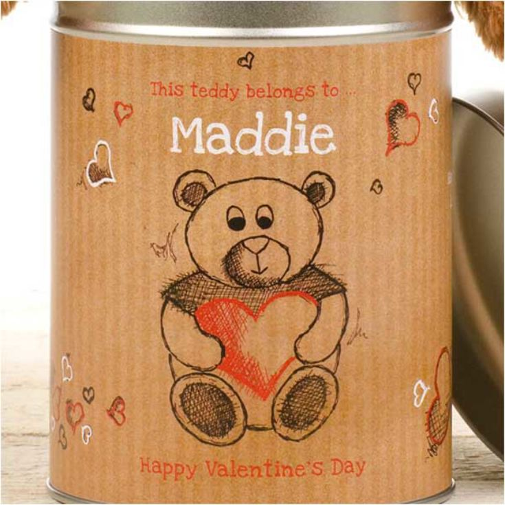 Valentines Day Love Heart Teddy in a Tin product image