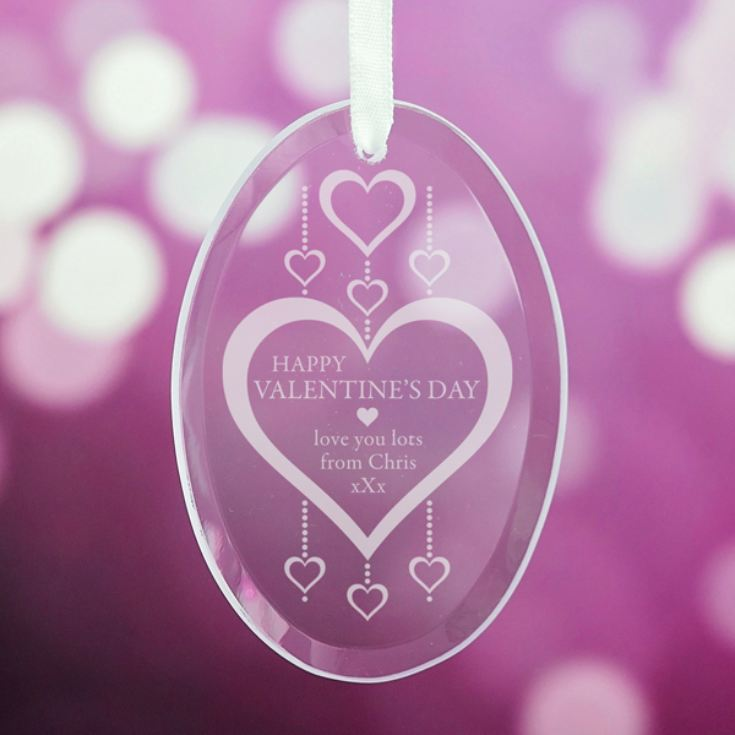 Personalised Valentine's Day Oval Glass Hanging Ornament product image