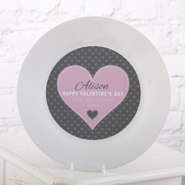 Personalised Valentine's Day Pink Heart Design Plate product image