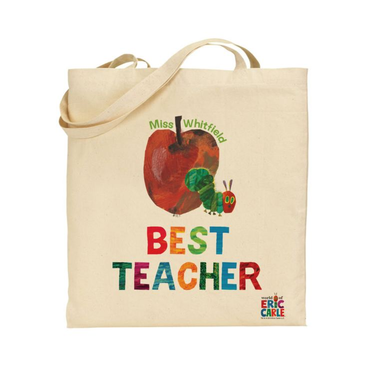 Personalised Very Hungry Caterpillar Best Teacher Tote Bag product image