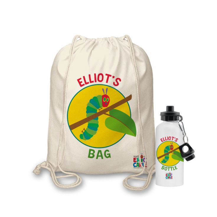Personalised Very Hungry Caterpillar Drawstring Bag & Drinks Bottle Set product image