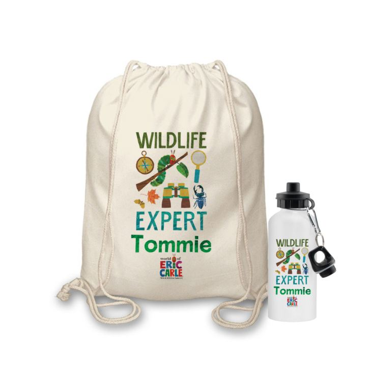 Personalised Very Hungry Caterpillar Wildlife Expert Drawstring Bag & Drinks Bottle Set product image