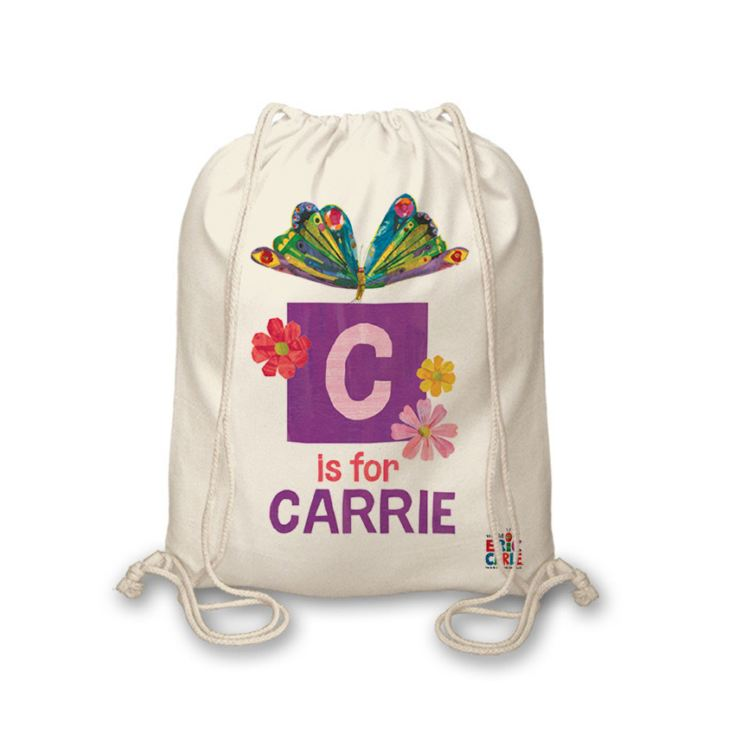 Personalised Very Hungry Caterpillar Initial Butterfly Drawstring Bag product image