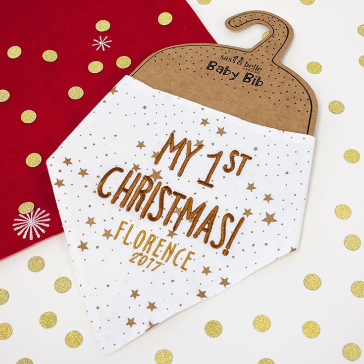 My First Christmas Personalised Baby Bib product image