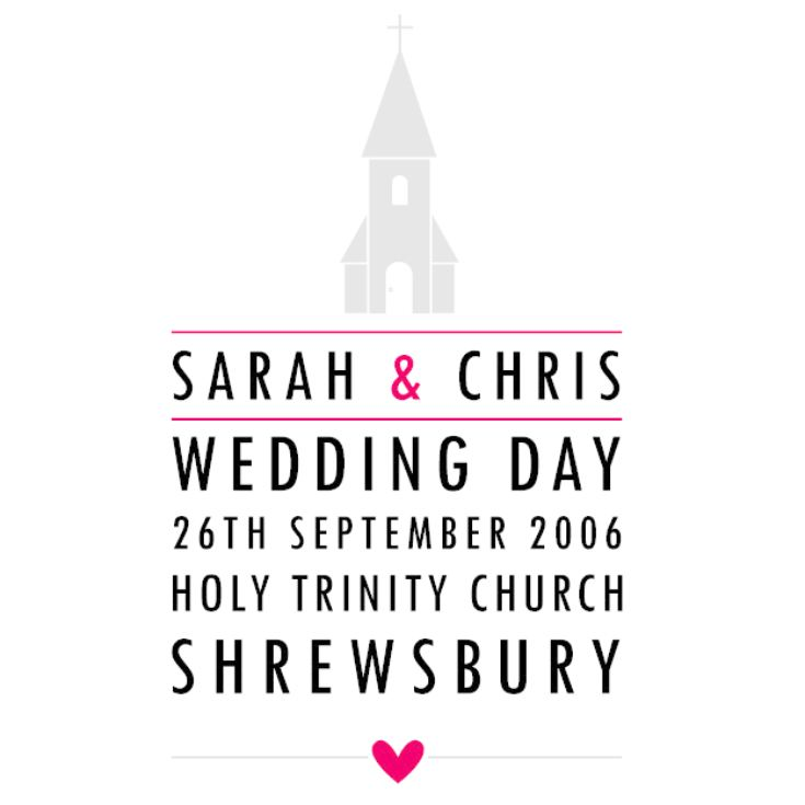 Personalised Church Style Wedding Framed Print product image