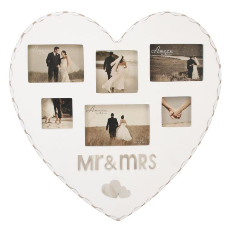 Mr & Mrs Heart Shaped Multi Aperture Frame product image