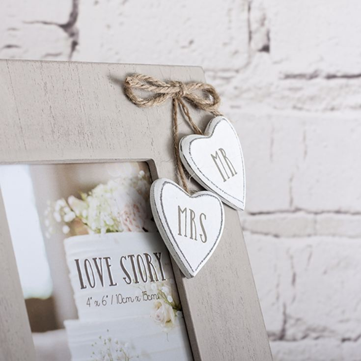 Personalised Mr & Mrs Wooden Hearts Frame product image