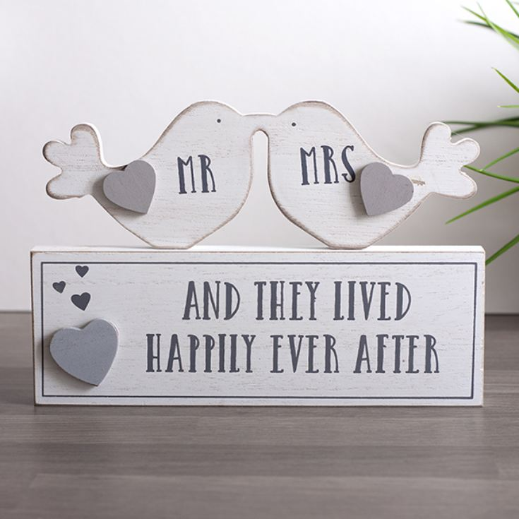 Mr and Mrs Happily Ever After Love Birds Mantel Plaque product image