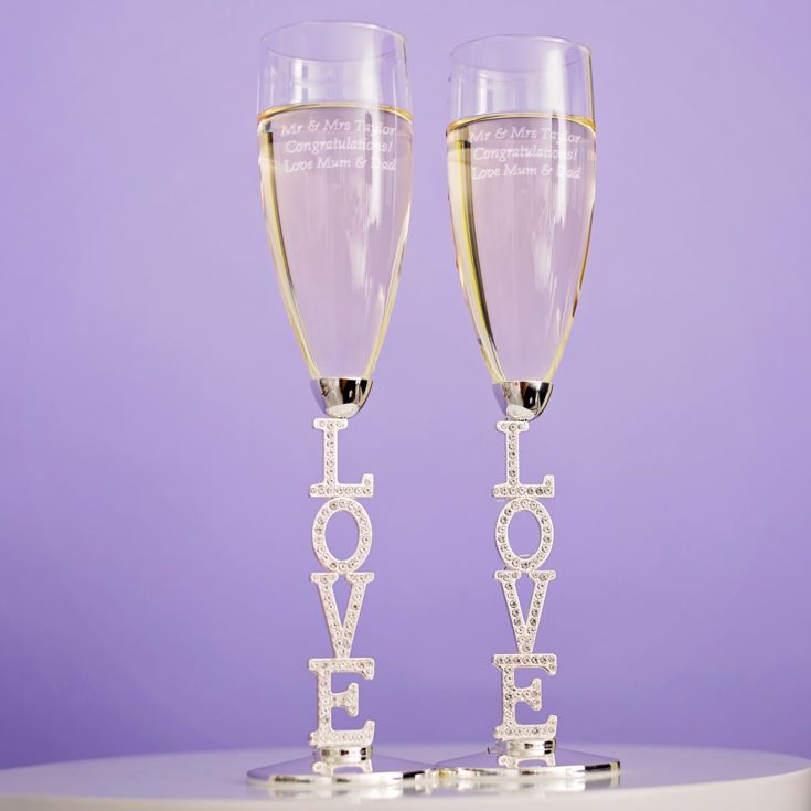 Engraved LOVE Champagne Flutes product image