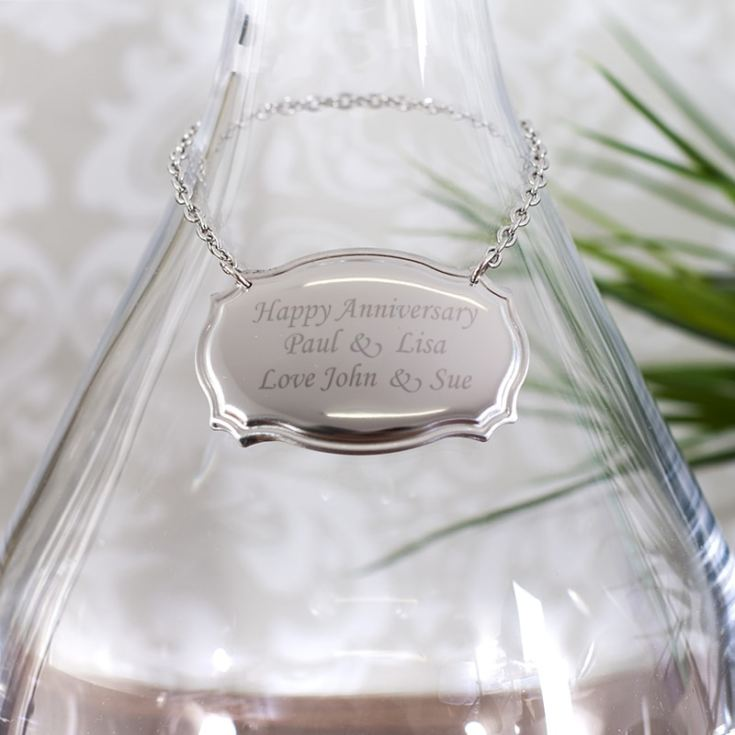 Personalised Stainless Steel Wine Decanter Label product image