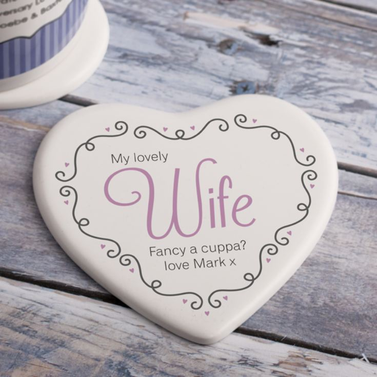 Personalised Wife Ceramic Heart Coaster product image