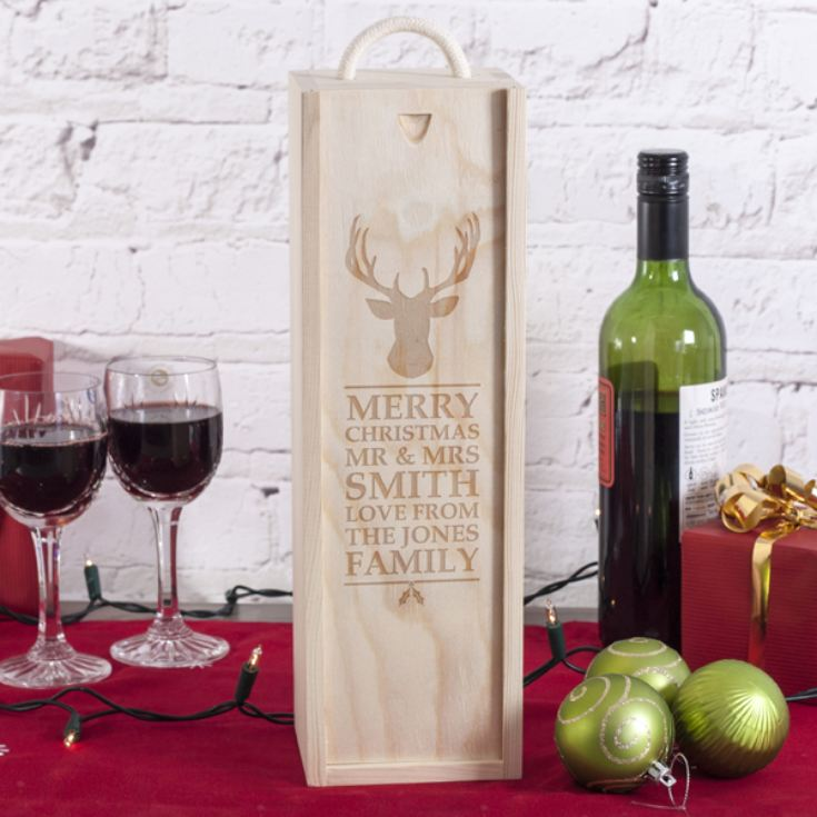 Personalised Merry Christmas Reindeer Wooden Wine Box product image