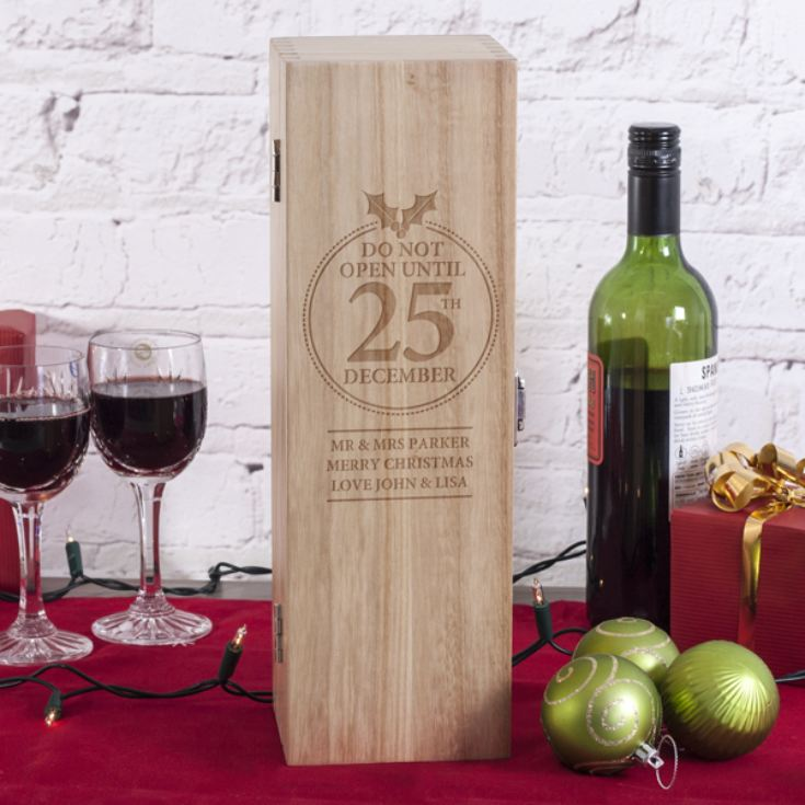 Personalised 25th December Luxury Wooden Wine Box product image