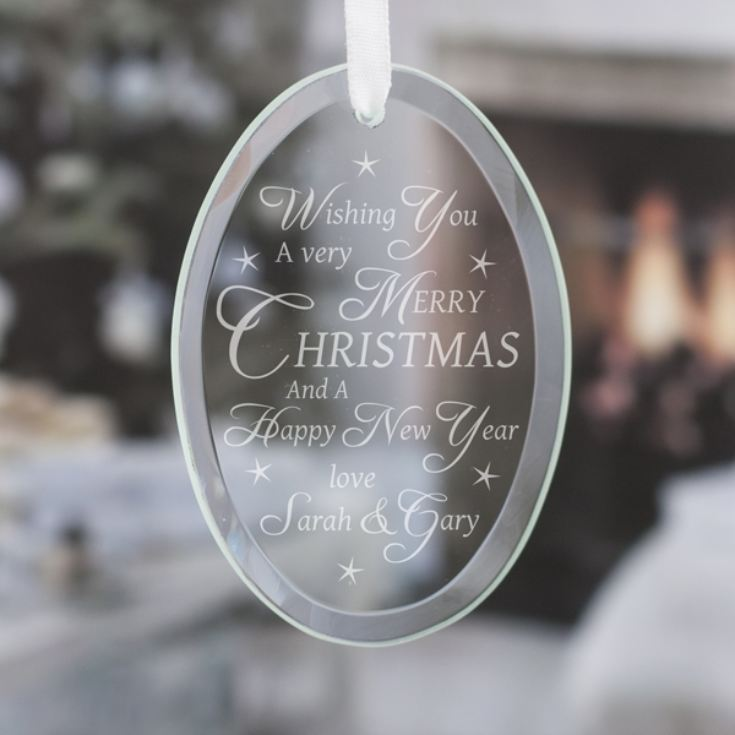 Personalised Merry Christmas Wish Oval Hanging Glass Ornament product image