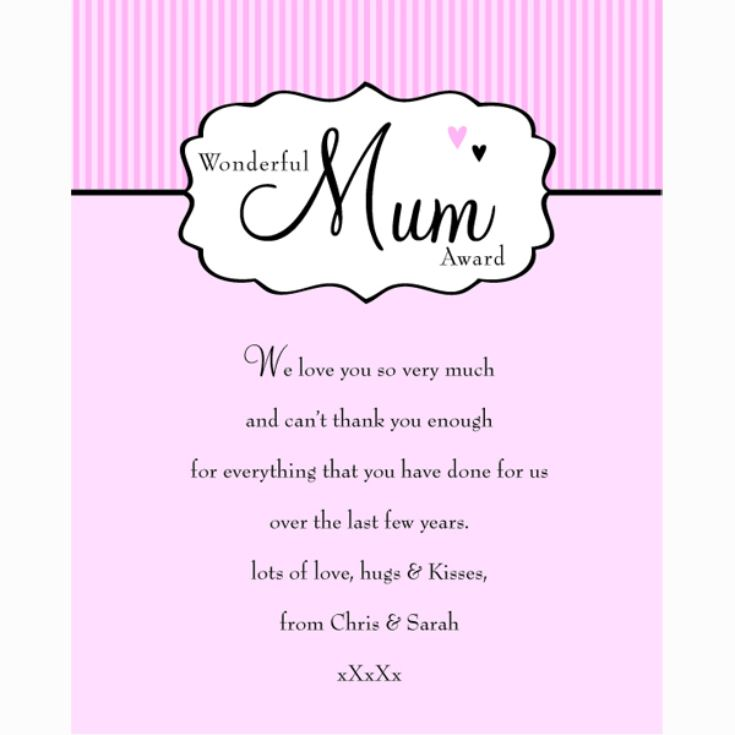 Personalised Wonderful Mum Award Framed Print product image
