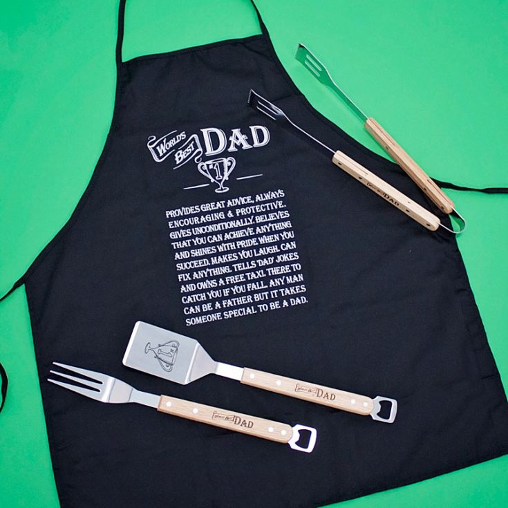 World's Best Dad Apron And BBQ Gift Set product image