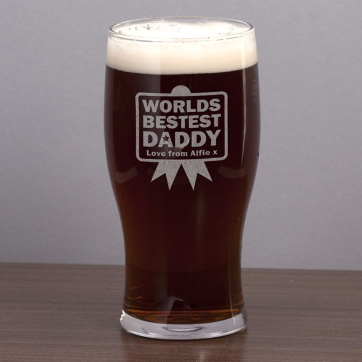 Worlds Best Daddy Personalised Pint Glass product image