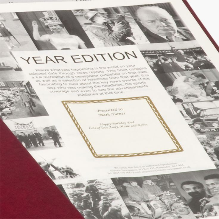 Personalised Year Book - News From The Birth Year product image