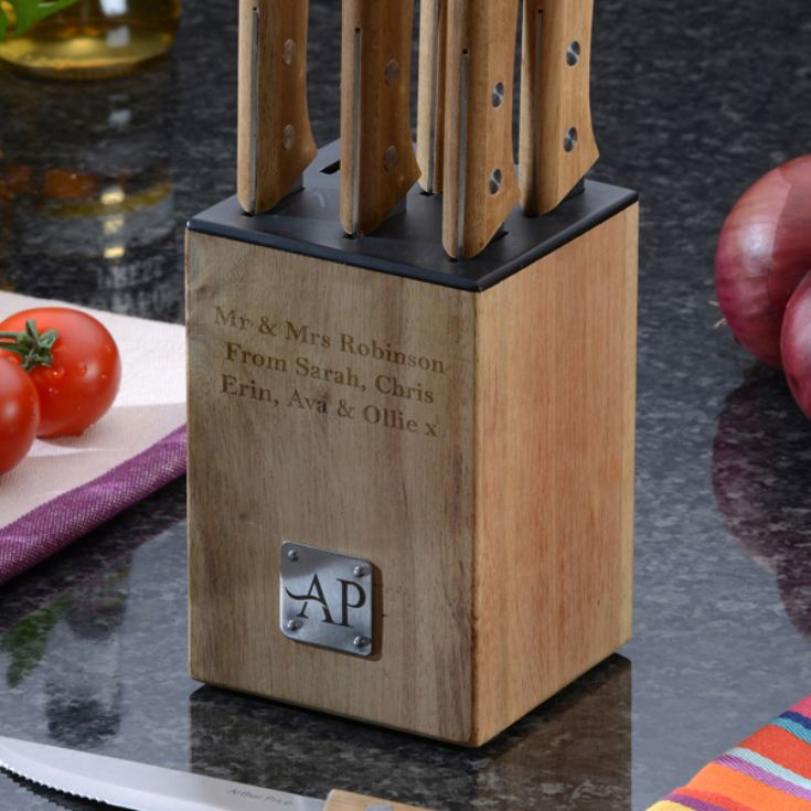 Personalised Wooden Block With 6 Steak Knives product image