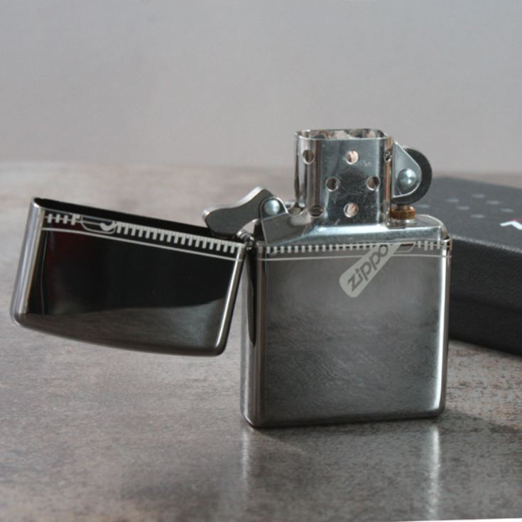 Personalised Zippo Black Ice Zipped Effect Lighter product image