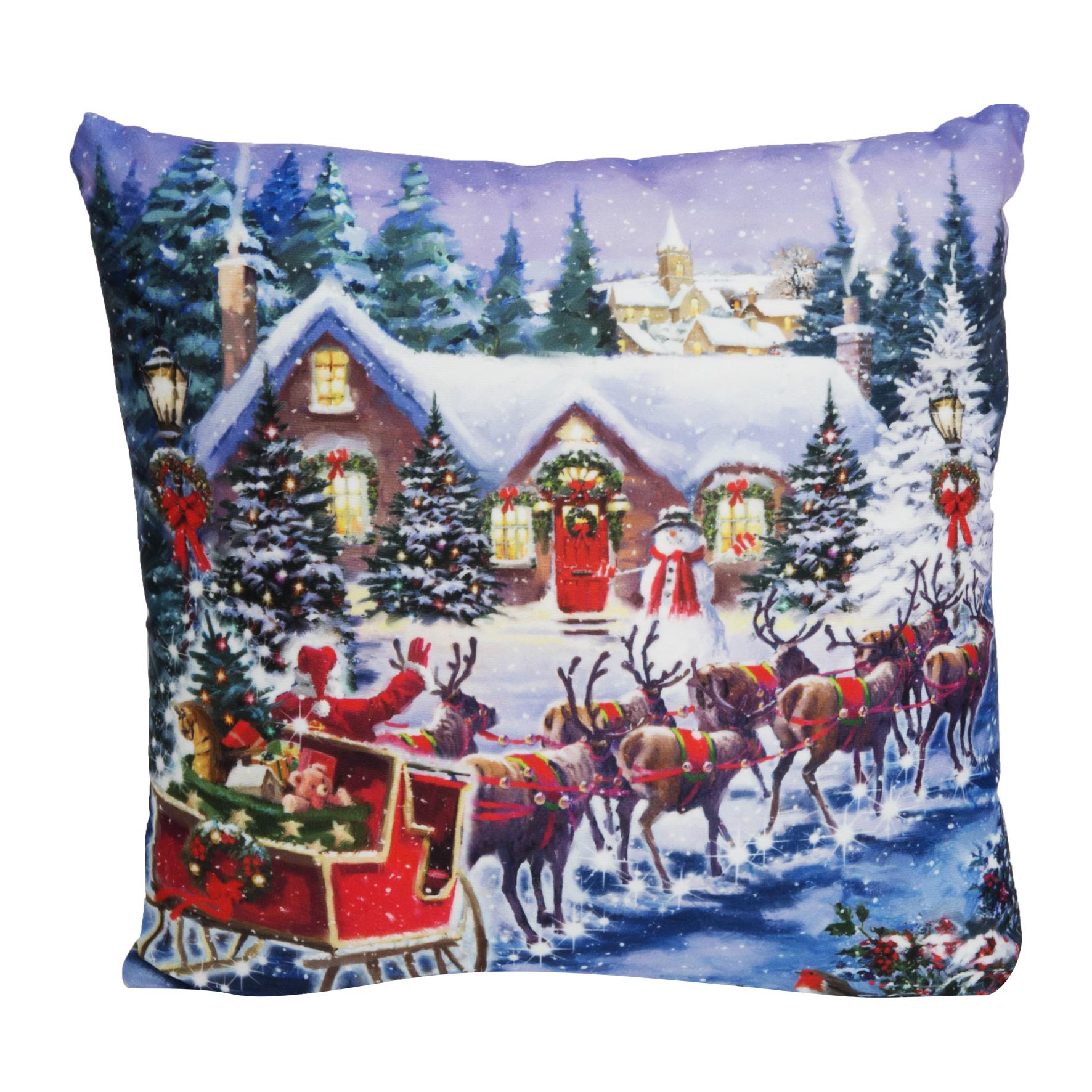 LED LIGHT CHRISTMAS LIGHT UP CUSHION 40CM X 40CM SANTA AND REINDEER