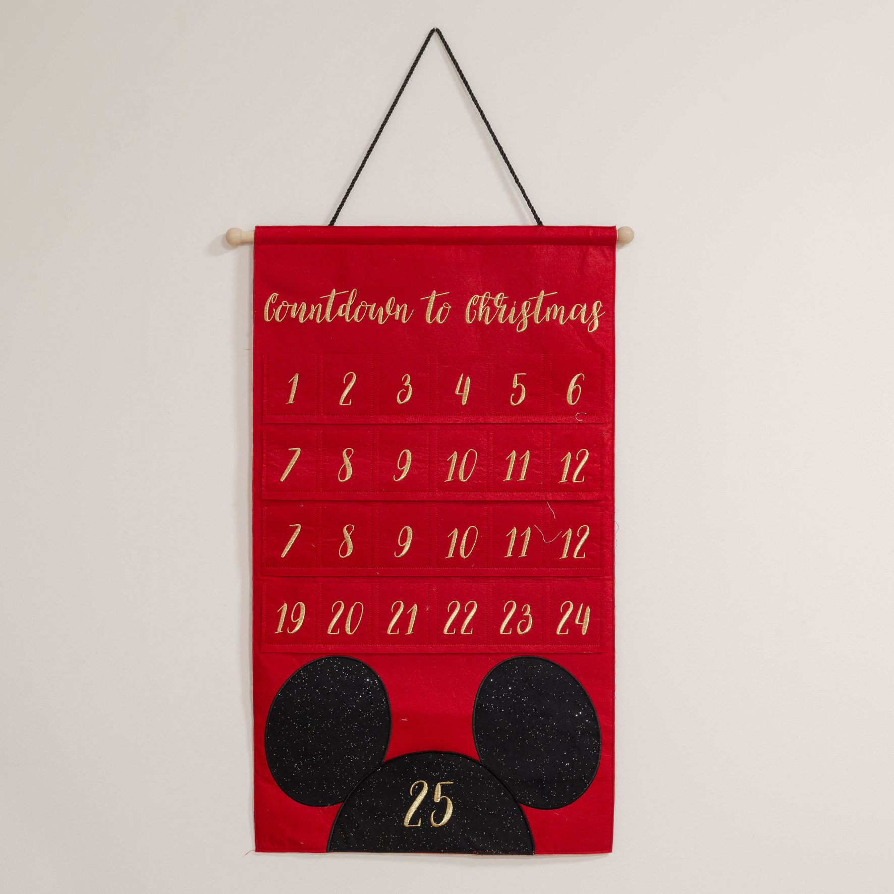 Disney Gold Embroidered Mickey Mouse Fabric Advent Calendar The Gift Experience
