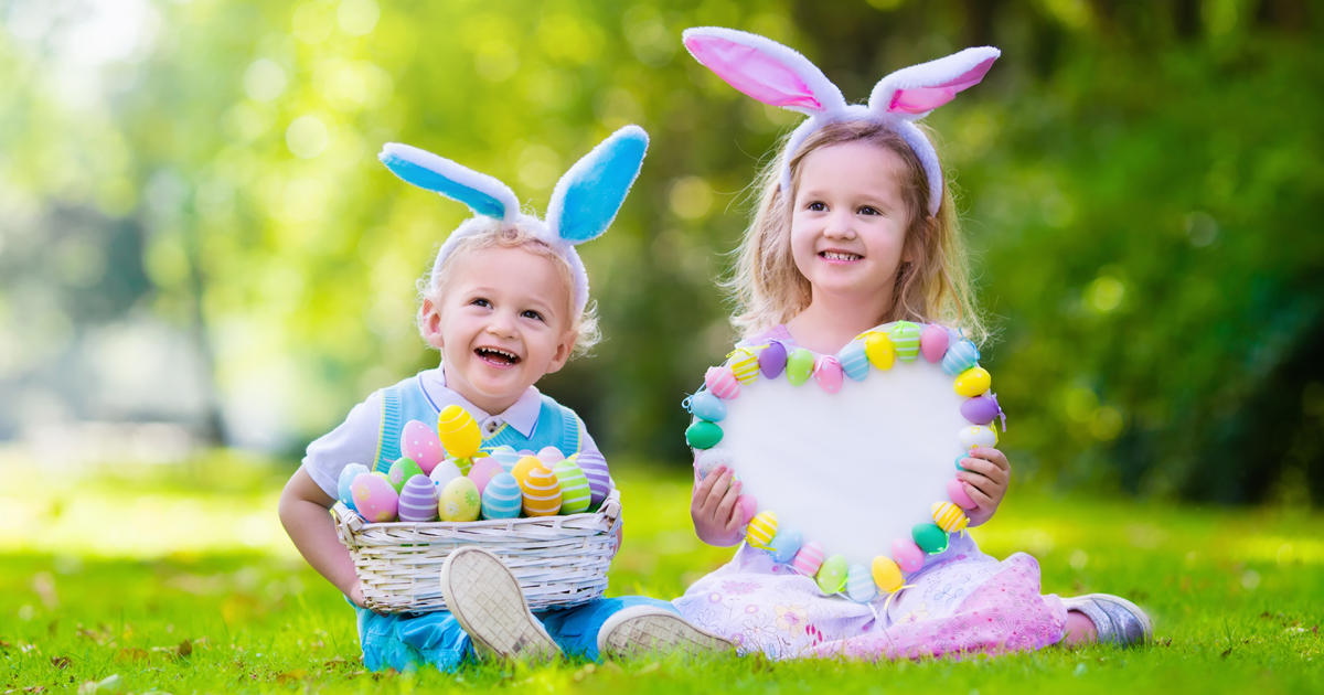 children going on an easter themed picnic