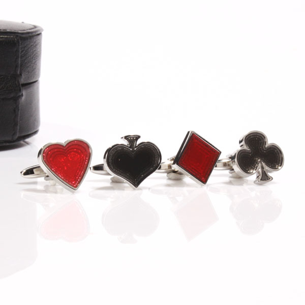 4 Suits of Cards Cufflinks in Leather Case - Cufflinks Gifts