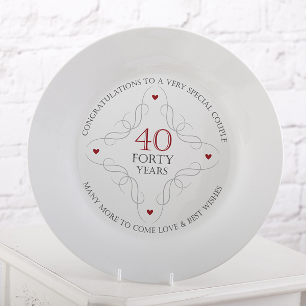 40th Anniversary Plate - 40th Gifts