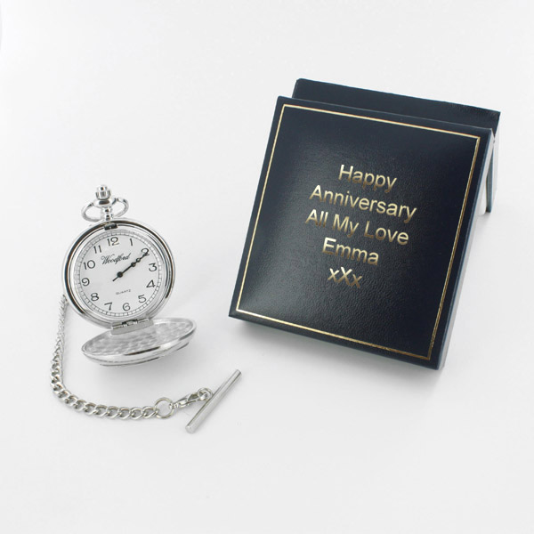 Happy Anniversary Pocket Watch in Personalised Gift Box - Watch Gifts