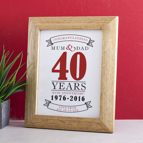 Personalised Ruby Anniversary Framed Print - Ruby Wedding Anniversary Gifts