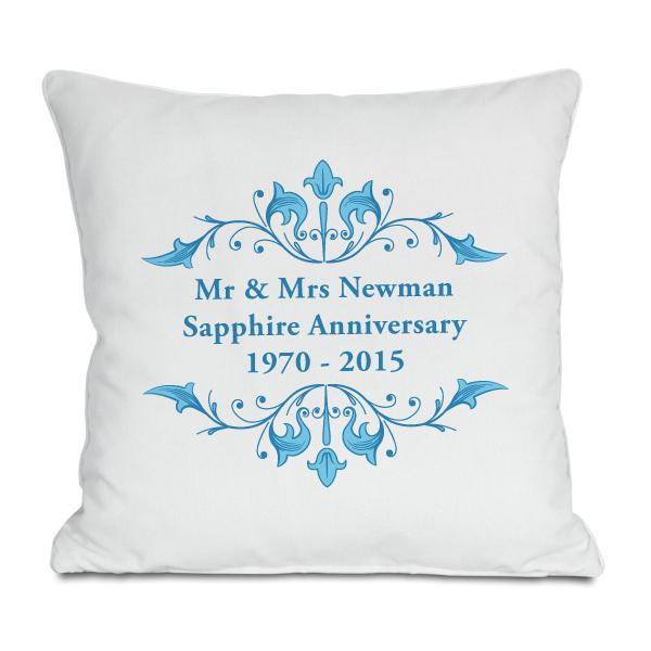 personalised sapphire anniversary cushion