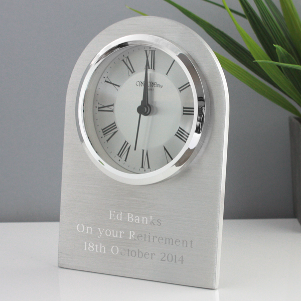 Personalised Arched Mantel Clock with Chrome Finish - Chrome Gifts
