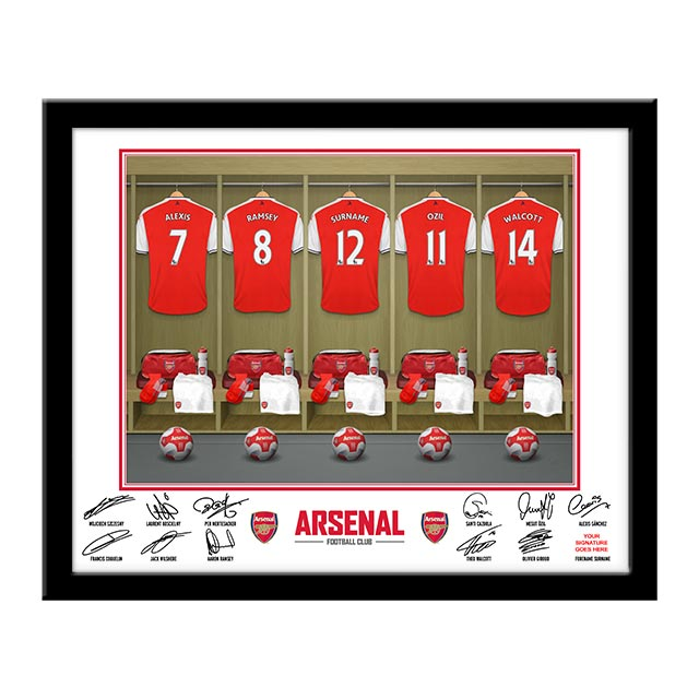 Personalised Arsenal Dressing Room Framed Photo - Arsenal Gifts