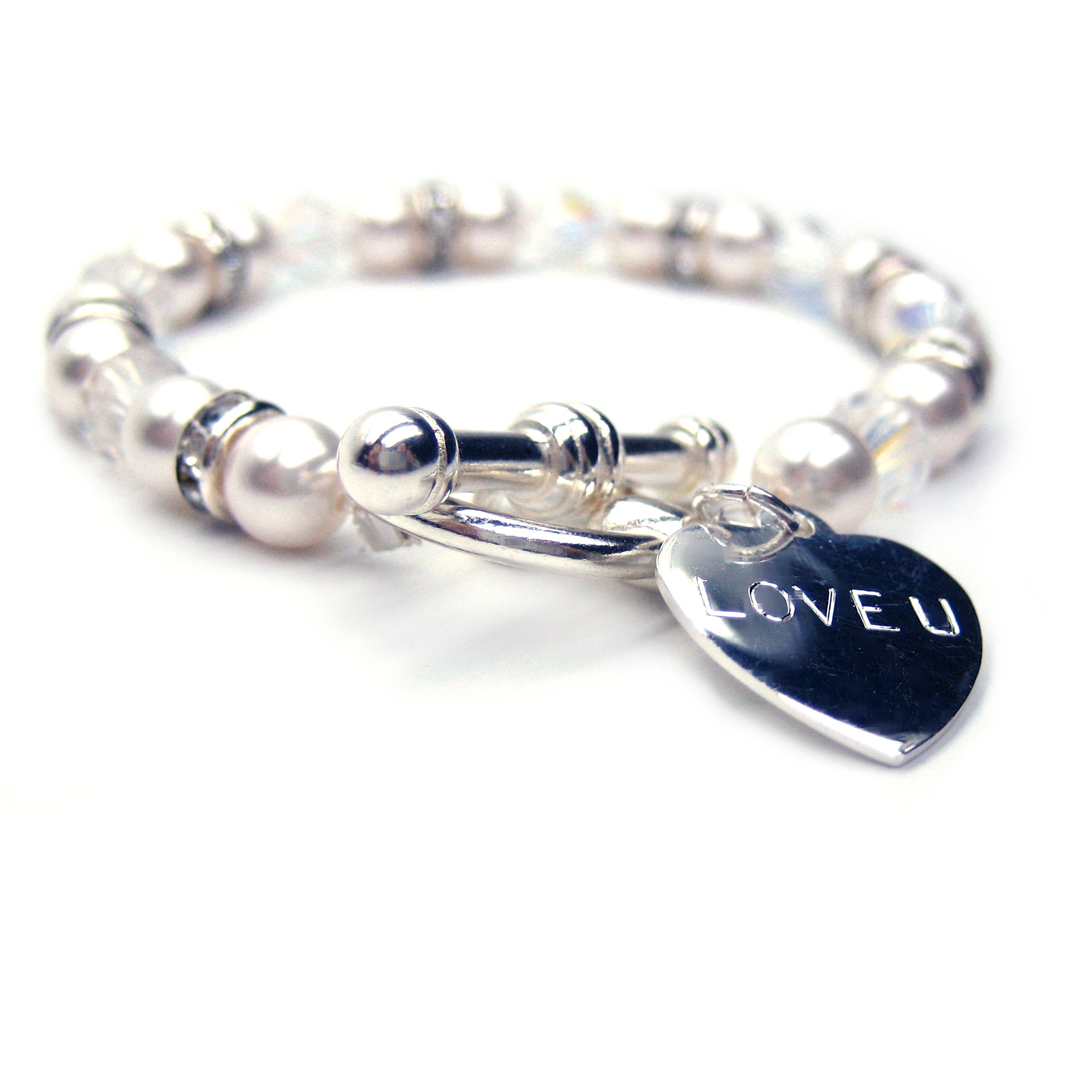 Silver Wedding Anniversary Aspire Personalised Bracelet Single