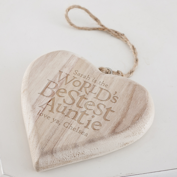 Personalised Worlds Best Auntie Chunky Hanging Wooden Heart