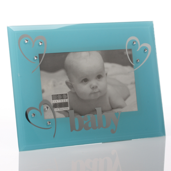 Baby Boy Blue Glass And Crystal Frame - Baby Boy Gifts