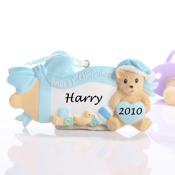 Personalised Baby's First Christmas Ornament Baby Bottle Blue