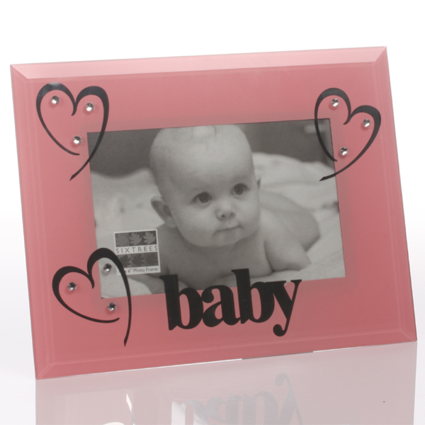 Baby Girl Pink Glass And Crystal Frame - Baby Girl Gifts