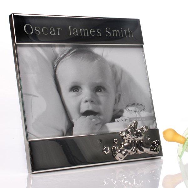 Personalised Shiny Silver Teddy And Bunny Frame