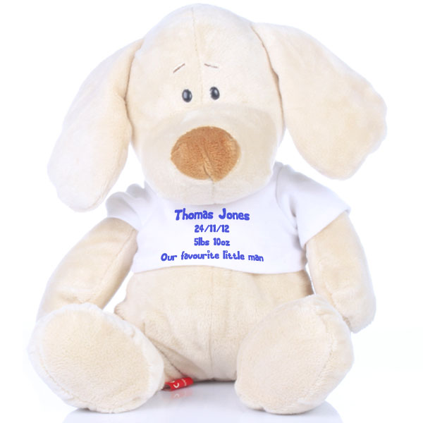 Personalised New Baby Soft Toy Puppy - Dogs Gifts