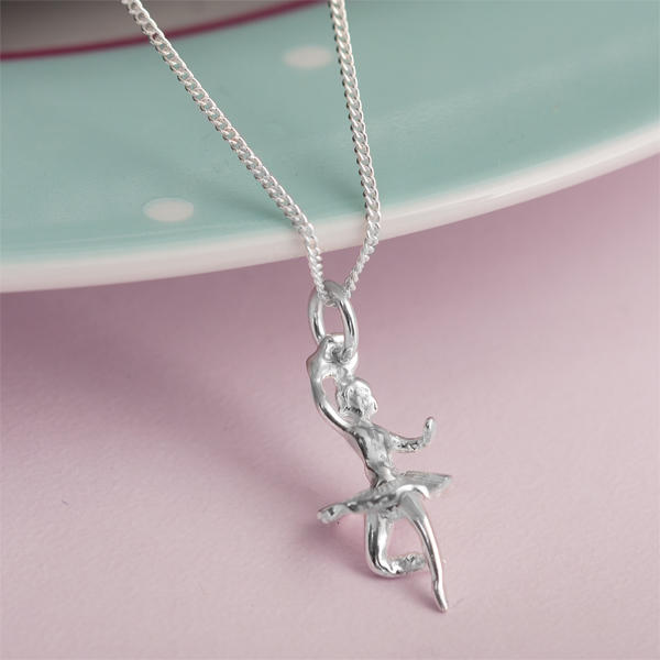 sterling silver ballerina necklace in personalised box